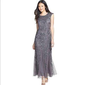 Pisarro Nights Slate Gray beaded a line gown